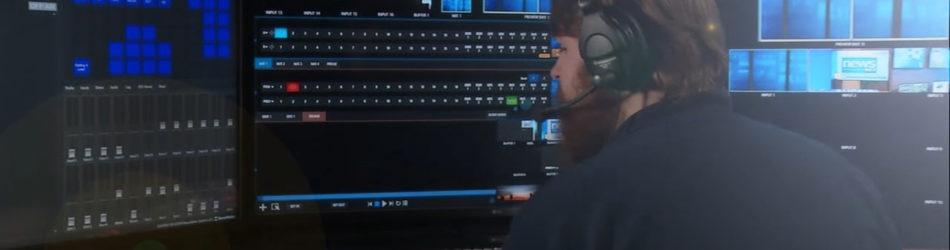 NewsNet Director Wyatt VanDuinen is seen in a new control room