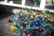 Christmas Lights Tangled with Ladder Outside, Copy Space