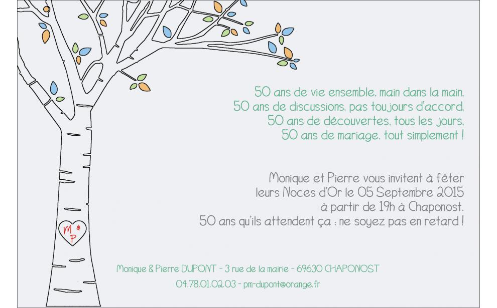 carte anniversaire de mariage avec arbre