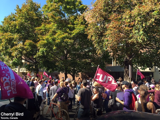 The protest on Monday, Sept 14 on U of T campus was organized by the Women's Caucus of CUPE 3902. Photo by Cherryl Bird