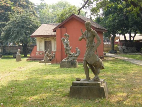 A series of sculptures depicting the culture of Ghana on the national museum grounds