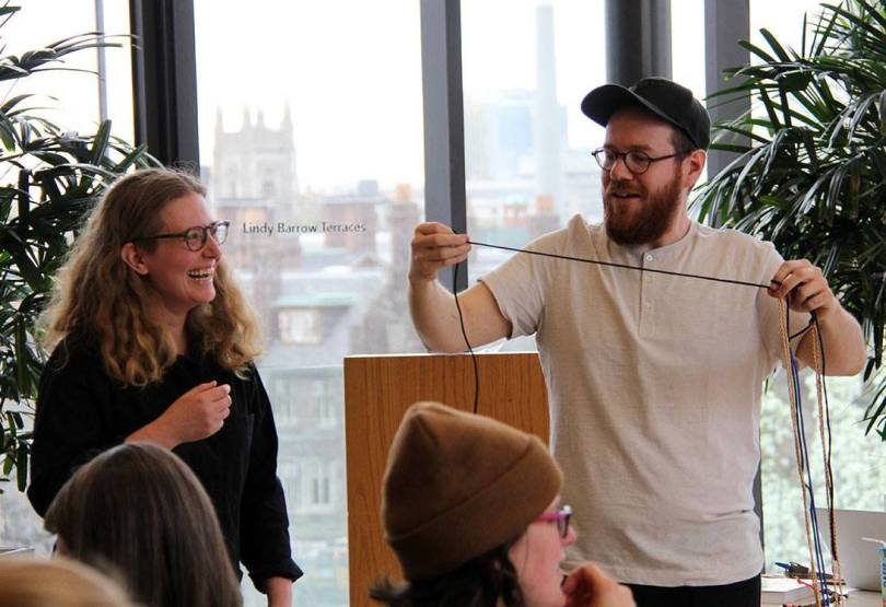 Dawn McGeough and Dustin Wilson of artist collective Friends of Ogden Park leading a DIY paracord-string crafting demonstration.