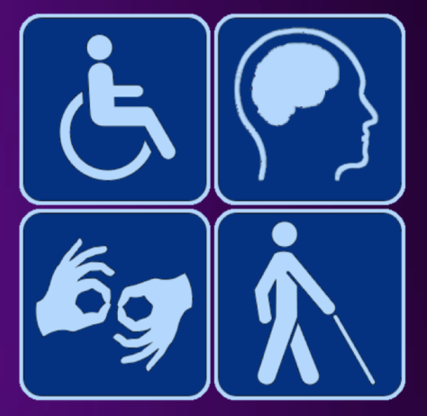 Accessibility guideline symbols, person in wheelchair, brain in a head profile, hands signing and a person walking with a outstretched cane
