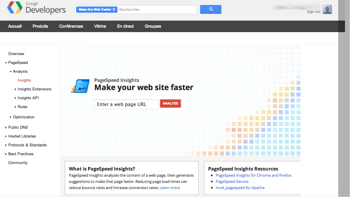 vitesse de site Google Insights