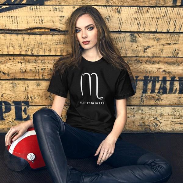 Sci-fi zodiac unisex black t-shirt Scorpio on model