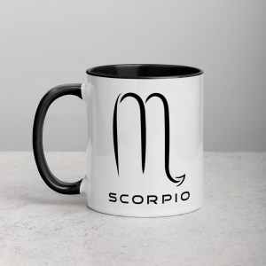 Sci-fi zodiac collection white and black color accent coffee mug left side with Scorpio symbol
