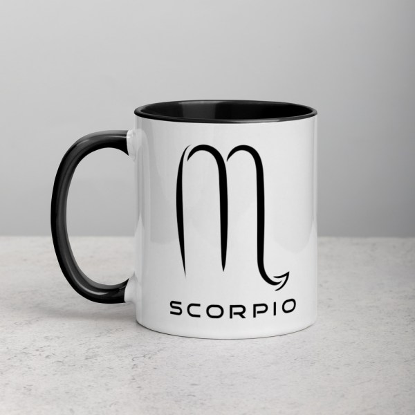 Sci-fi zodiac collection white and black color accent coffee mug left side with Scorpio symbol