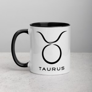 Sci-fi zodiac collection white and black color accent coffee mug left side with Taurus symbol