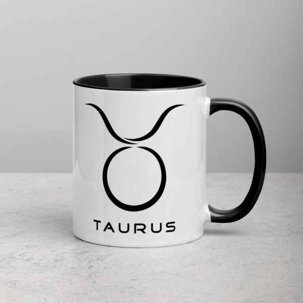 Sci-fi zodiac collection white and black color accent coffee mug right side with Taurus symbol