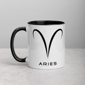 Sci-fi zodiac collection white and black color accent coffee mug left side with Aries symbol