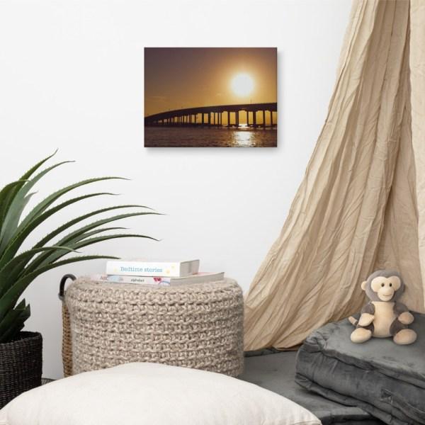 """Destin Bridge Sunset"" 12x16 wrapped canvas print mock-up living room"