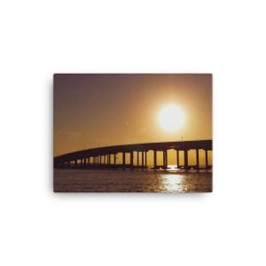 """Destin Bridge Sunset"" 12x16 wrapped canvas print"