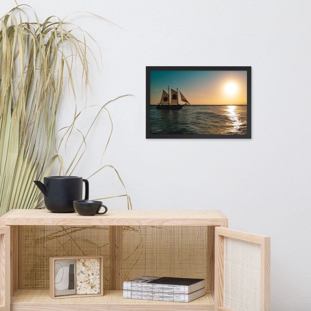 """""""Ship of the Florida Seas"""" 12x18 framed poster print with black frame lifestyle mock-up"""