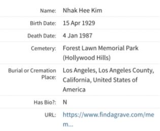 Nhak Hee Kim died 1987