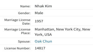 Nhak Kim marriage license