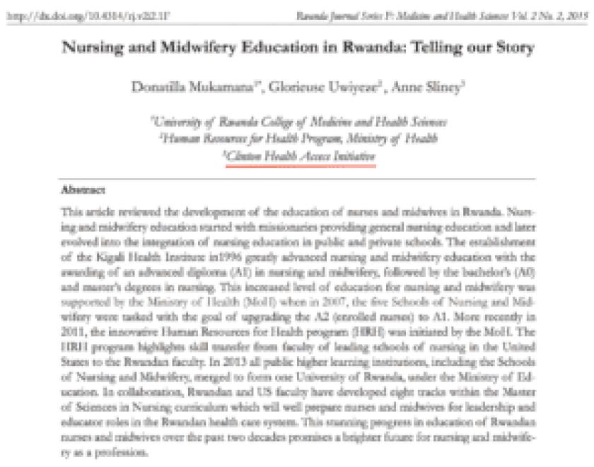 Nursing and Midwifery education in Rwanda