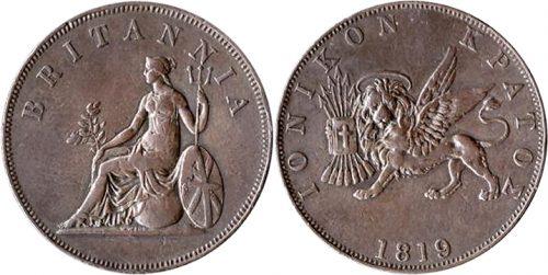 Obol of George III - Britannia seated on a Globe / Winged Lion holding Gospel