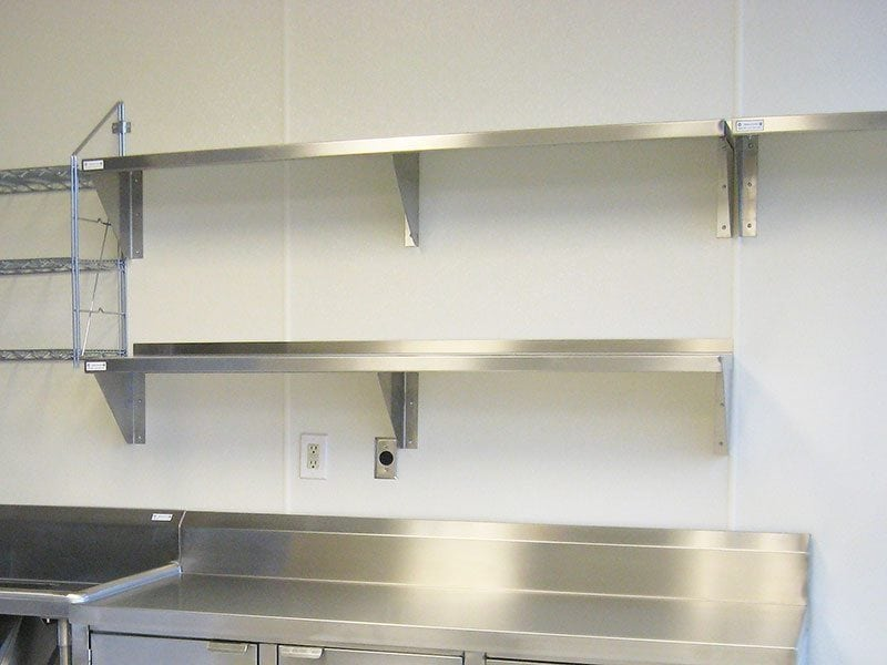 stainless steel wall shelving kitchen