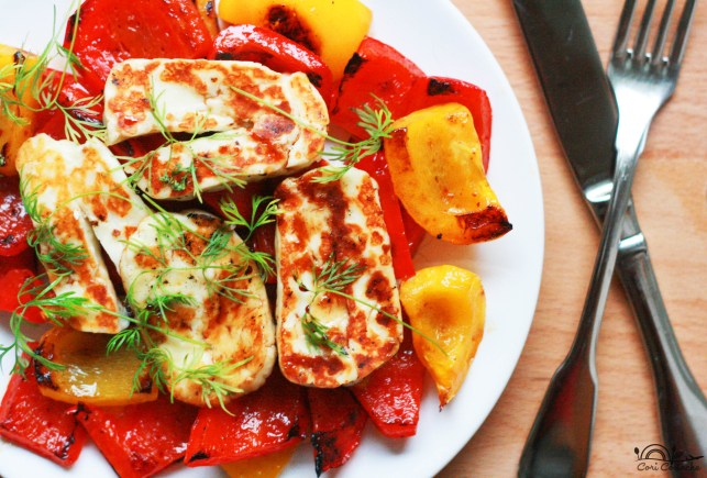 Summer halloumi and roasted peppers