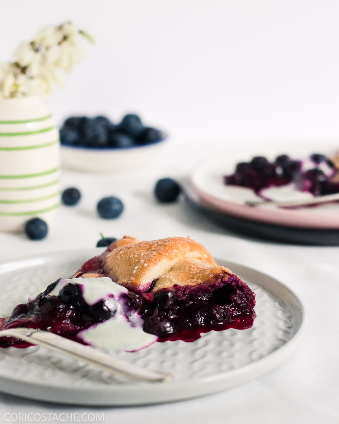 Rustic Blueberry Tart With Mint Greek Yogurt
