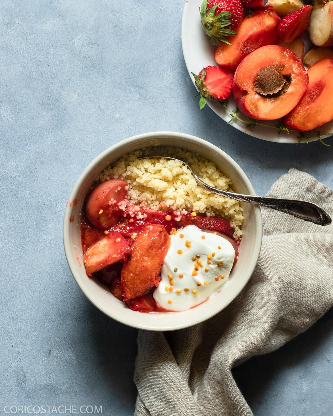 Sweet Couscous Bowl with Roasted Fruits & Greek Yogurt