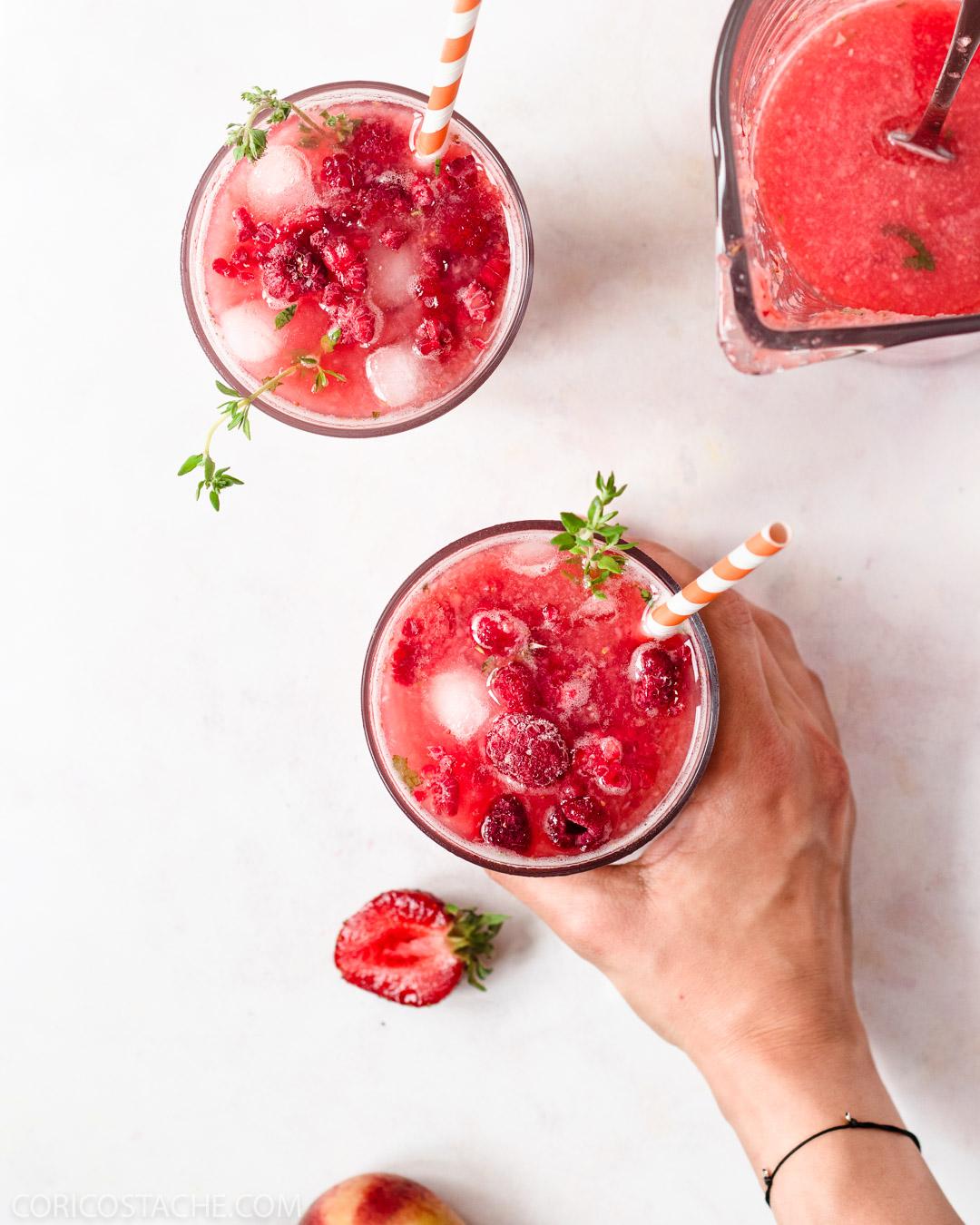 Peach, Berries & Thyme Lemonade