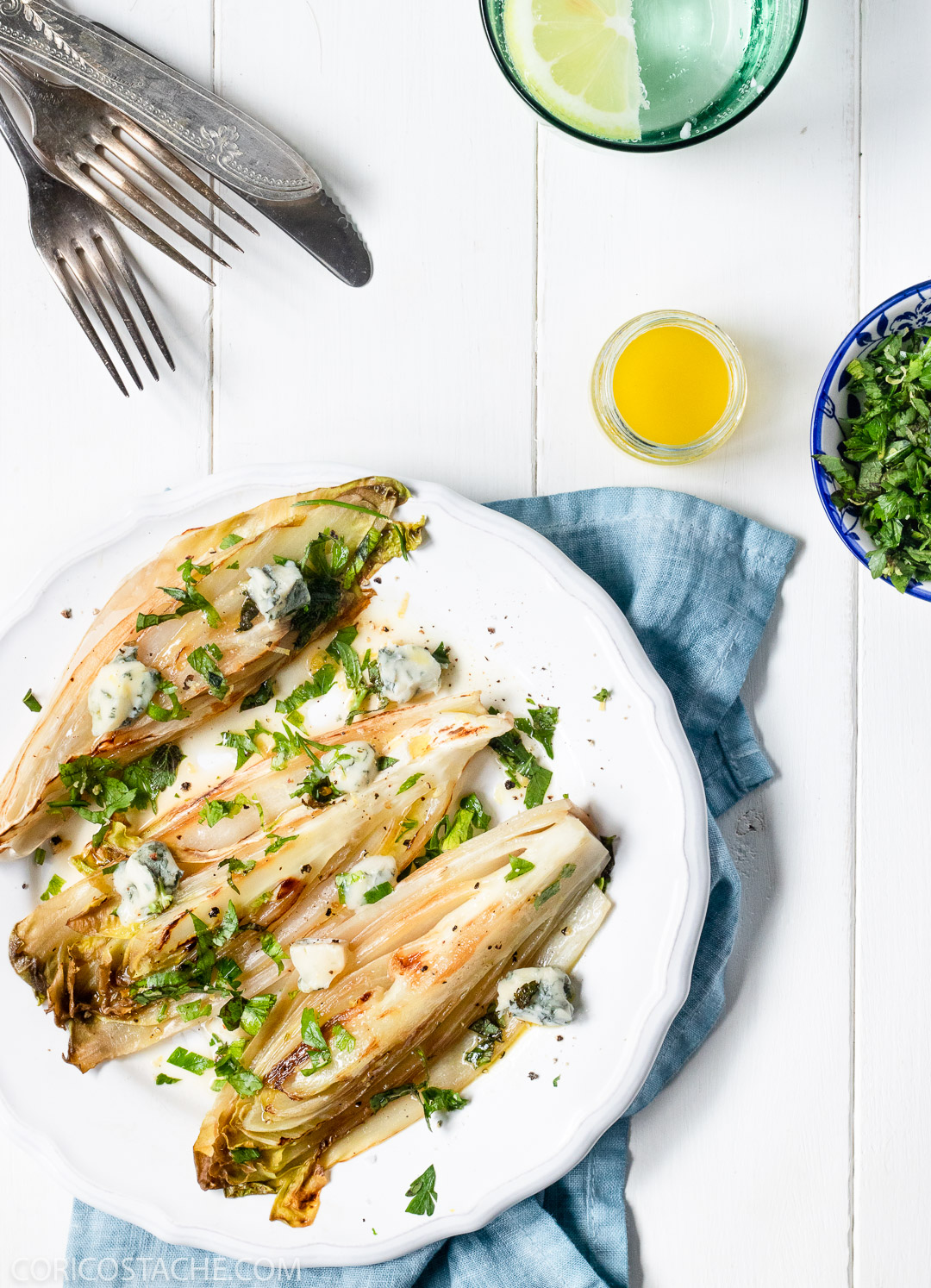 Seared Endives with Gorgonzola & Mint Gremolata