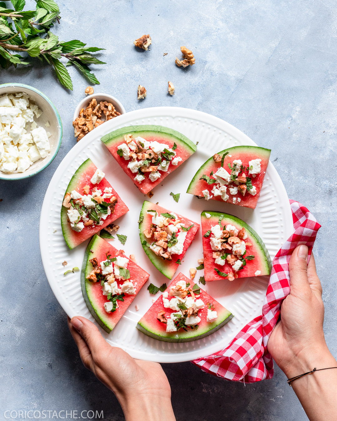 Watermelon Snack with Feta, Mint & Walnuts