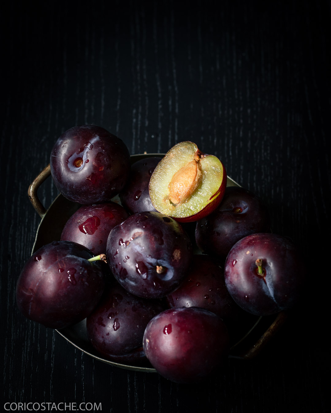 plum dark image food photography
