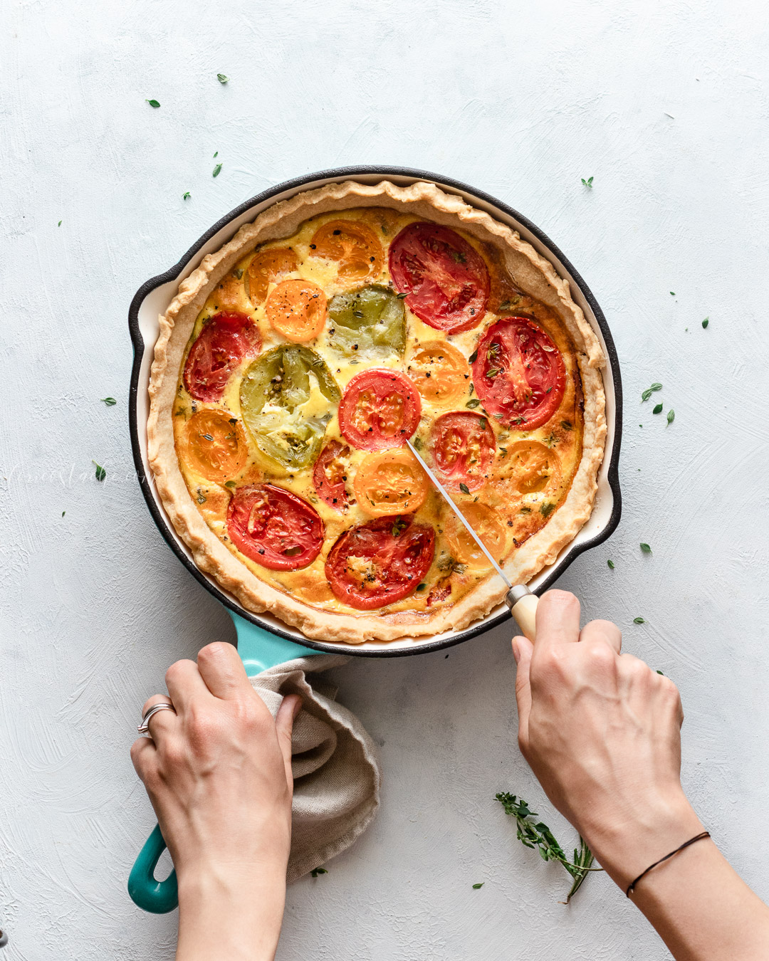 Summer Tomato Tart With Herbs & Zucchini - rustic tart dough food photography