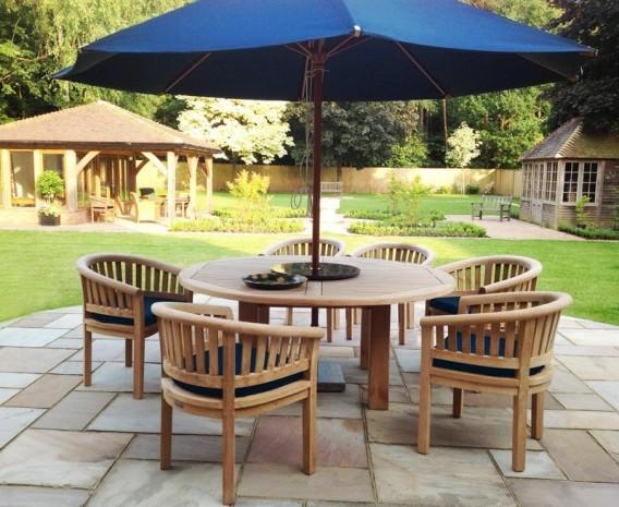 titan robust round 6 seater patio dining set