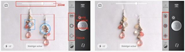 """A """"white balance"""", """"exposure"""", """"focus"""" feliratokkal ellátott beállításokon érdemes módosítani."""
