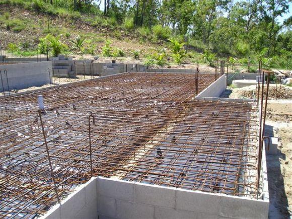 Photo of a house raft slab