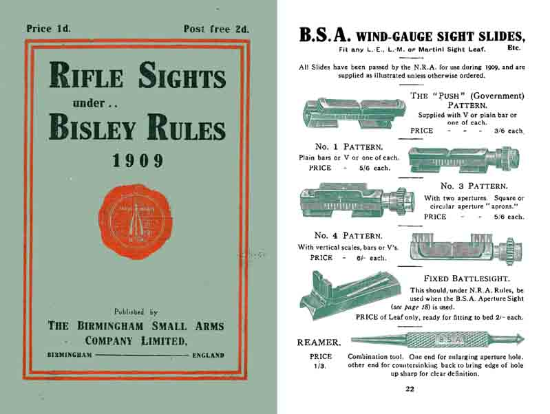 BSA 1909 Rifle Sights under Bisley Rules