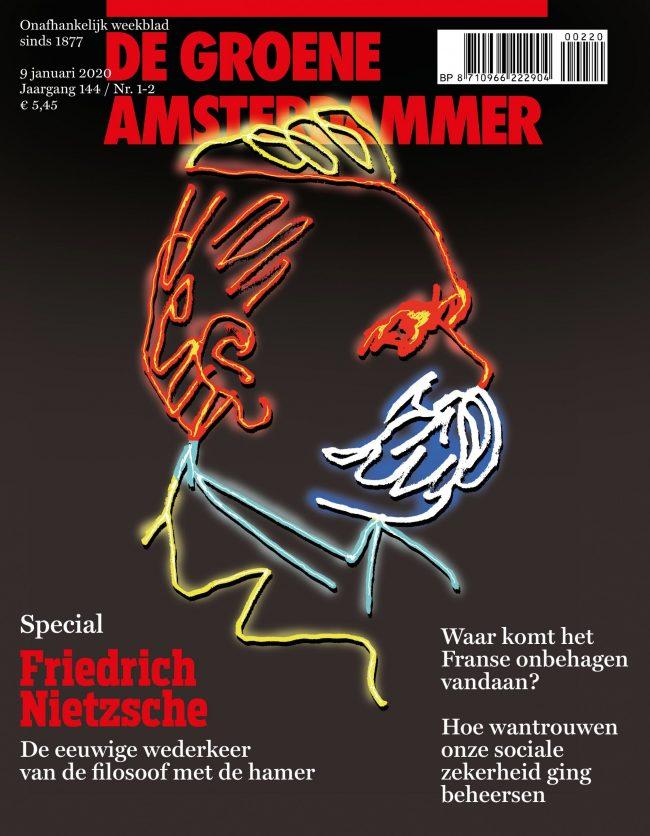 Omslag van 'Groene' met portret Nietzsche