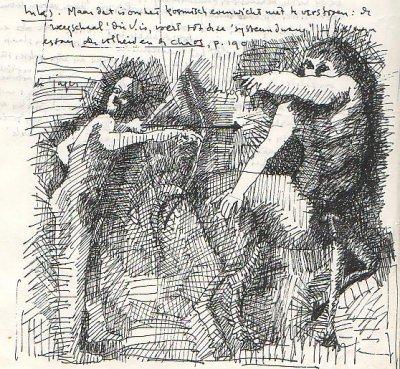 Pentekening door Cornets de de Groot van Aktaion en Cheiron.