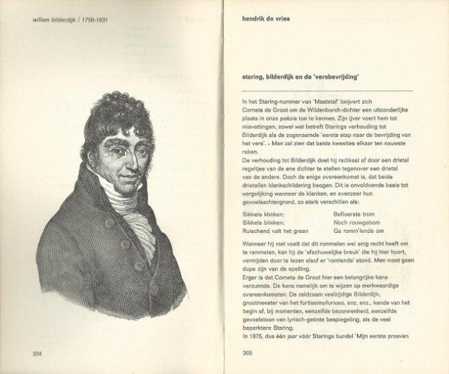 Portret van Bilderdijk bij de eerste pagina van De Vries' artikel in 'Maatstaf'.