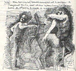 Aktaion en Cheiron, pentekening door Cornets de Groot