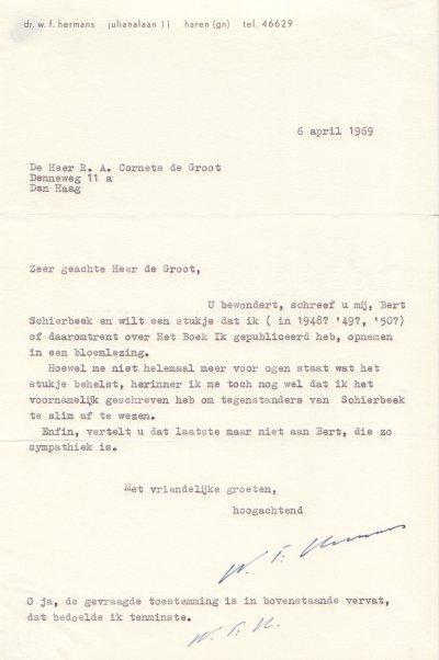 Facsimile van brief Hermans