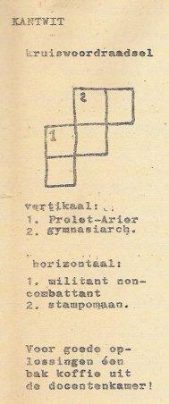 Rubriek Kantwit, met kruiswoordraadsel