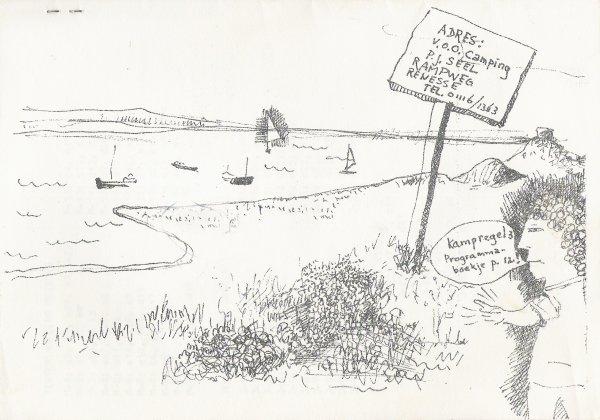 Tekening door Cornets de Groot op de achterkant van het boekje.