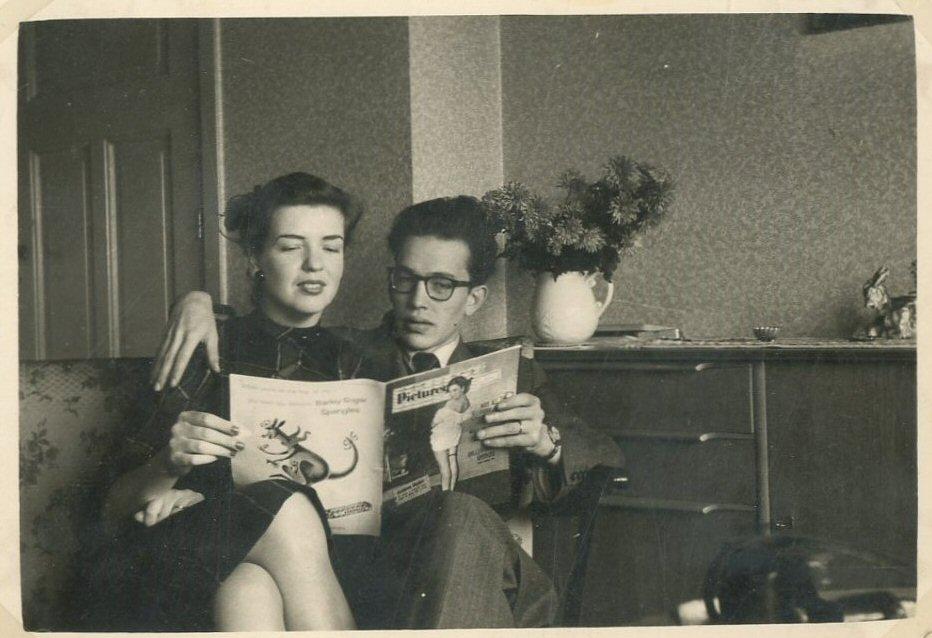 Met Willy, oktober 1954