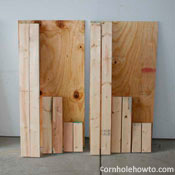 Picture of all wood cut to final size for cornhole table.