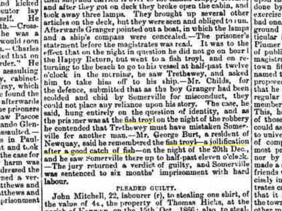 Excerpt from a newspaper mentioning a fish troyl from 1867