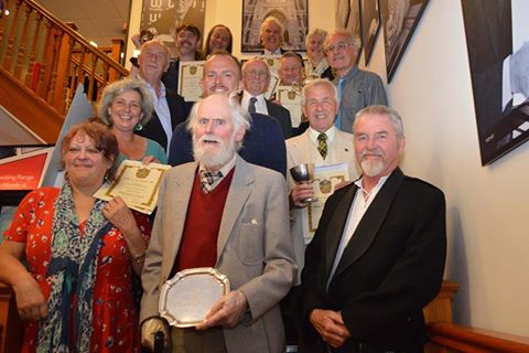 Holyer an Gof 2016 winners with Bardh Meur Merv Davey, Telynor an Weryn and Edward Rowe, Mab Tregarrek, who mc'd the evening for Gorsedh Kernow. Keslowena oll! / Congratulations all!