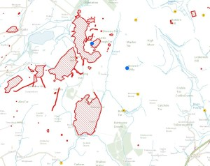 Area Around Brown Willy & Rough Tor showing areas of historic interest