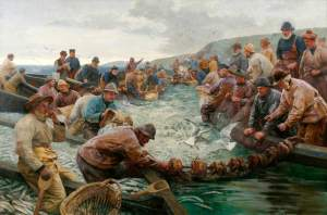 Tucking Pilchards - artist Percy Craft