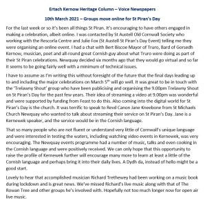 Ertach Kernow Heritage Column – 10th March 2021 – Groups move online for St Piran's Day
