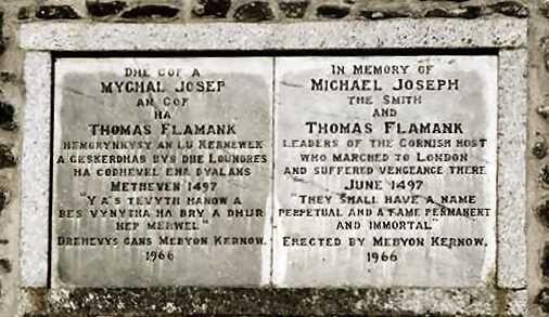 ornish Rebellion 1497 - Memorial plaque near the entrance to Greenwich Park in London.