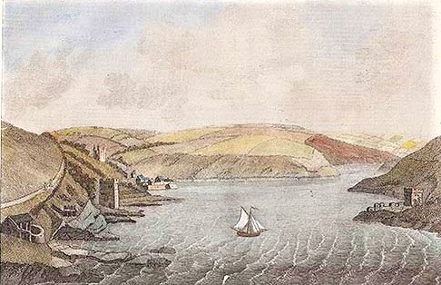 Town Haven Castle Fowey engraving by J. Newton. Published by S. Hooper in 1787 with later hand colouring